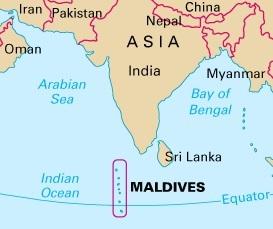 Где находятся Мальдивы - острова на карте мира